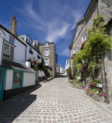 A Typical Cornish Street in St Ives