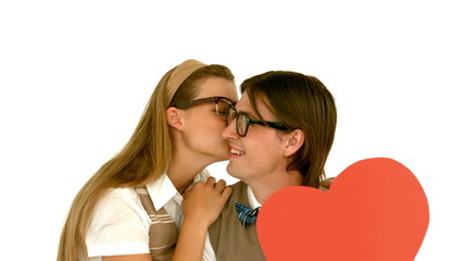 In slow motion smiling geeky hipster and his girlfriend