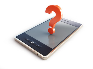 phone danger to health a question mark 3d illustrations