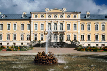 Rundale Palace in Latvia. The fountain in the first plan.