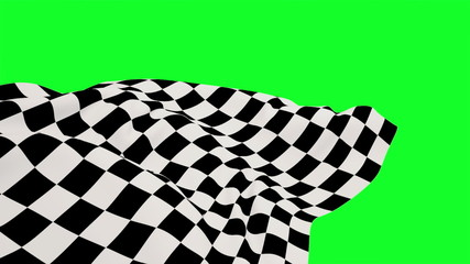 Checkered flag against green screen