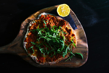 Turkish pizza lahmacun of minced meat and bell peppers