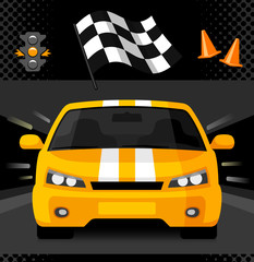 Street racing car with sport checkered flag and traffic light