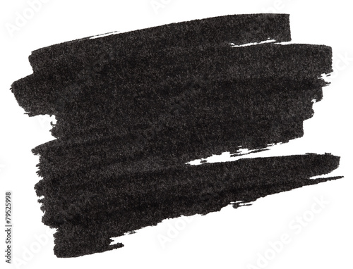 Fotobehang Vormen Black marker paint texture isolated on white