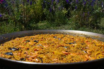Paella de Marisco al aire libre