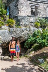 Couple in Love  traveling Tulum Mayan Ruins, Caribbean, Quintana