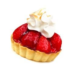 Strawberry tart dessert with meringue isolated on white
