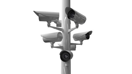 CCTV cameras against white background