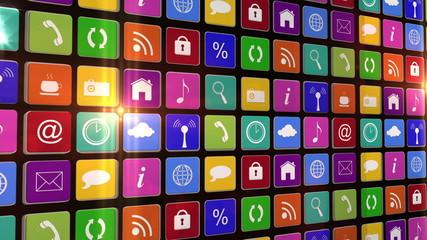 Flashing wall of app icons