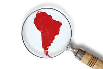 Cartina del Sud America sotto la lente