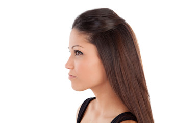 Beautiful profile of brunette woman