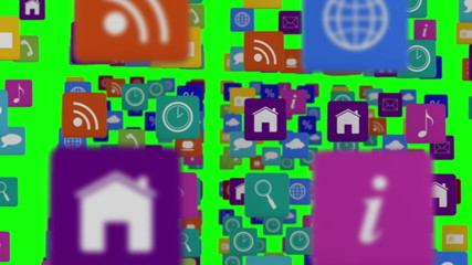 Many rows of app icons