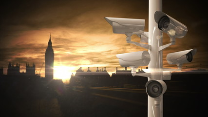 CCTV cameras over a busy road in london