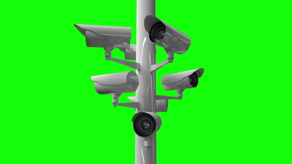 CCTV cameras against green screen