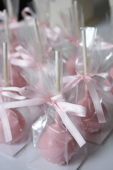 Pink cake pops wrapped