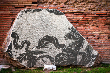 Detail of the decoration of Baths of Caracalla in Rome