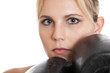 Female boxer closeup portrait