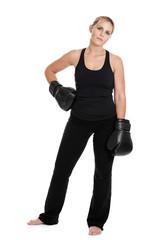 Kickboxer portrait on white background