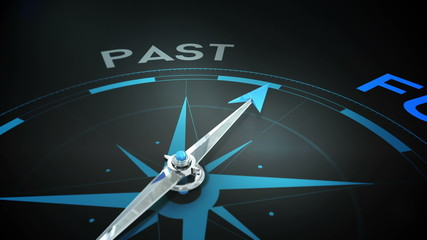 Compass pointing to future