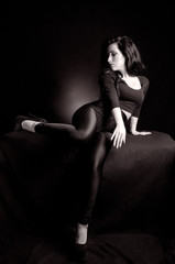 Woman in Black and White Sexy Pose