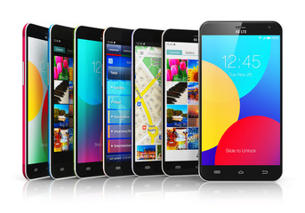 Collection of modern touchscreen smartphones