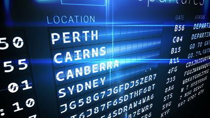 Departures board for australian cities