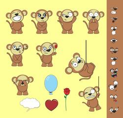 cute monkey cartoon set