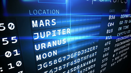 Departures board for outer space
