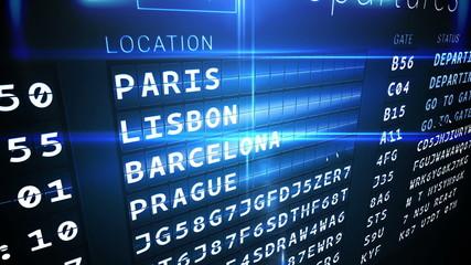 Departures board for eurpoean cities