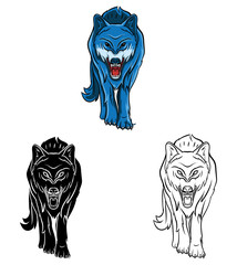 Coloring book Wolf cartoon character