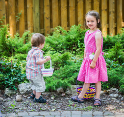 Boy and a Girl on an Easter Egg Hunt