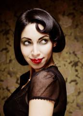Fashion art girl portrait.Vamp style.