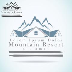 Mountain resort logo design template Realty construction
