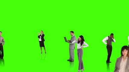 Business people connecting on green background