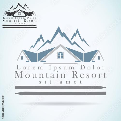 Mountain resort logo design template Realty construction - 79534119