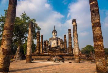 Large seated Buddha statue at Wat mahathat in Sukhothai