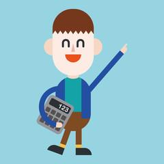 Character illustration design. Businessman using calculator cart