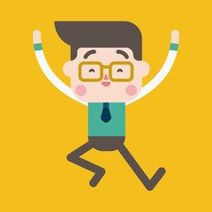 Character illustration design. Businessman joyful cartoon,eps