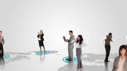 Business people connecting on white background