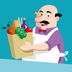 Shopkeeper Vector Design Illustration