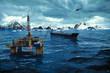 Oil platform on sea - 79536784