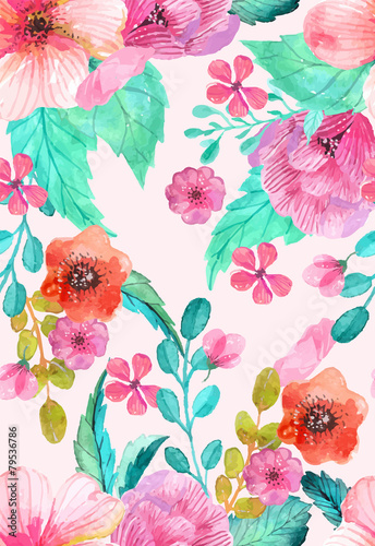 Cotton fabric Watercolor floral seamless pattern