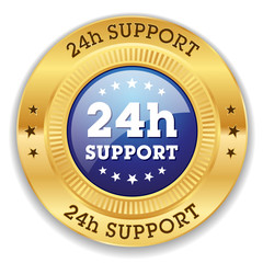 Blue 24h support button with gold border