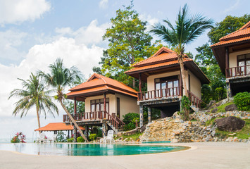 Summer villa with a swimming pool on the beach