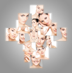 Collection of different female spa portraits on grey
