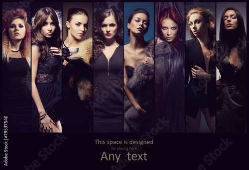 Leinwanddruck Bild Fashion collection of different women posing in fashion dresses