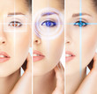 Women with digital laser holograms on their eyes