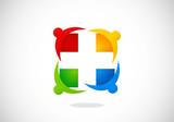 people medic cross health vector logo