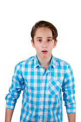 Surprised teenager isolated on white background