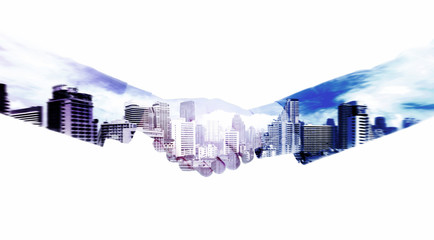 Handshake and a city. Double exposure concept.